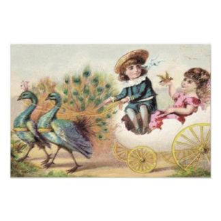 Victorian Children Ostrich Easter Egg Photograph