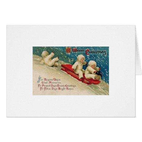 Victorian Children Sledding Christmas Card