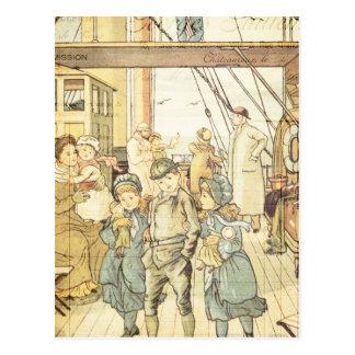 Victorian Children Storybook Vintage Ship Collage Postcard