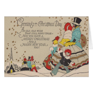 Victorian Christmas and New Year Greeting Card