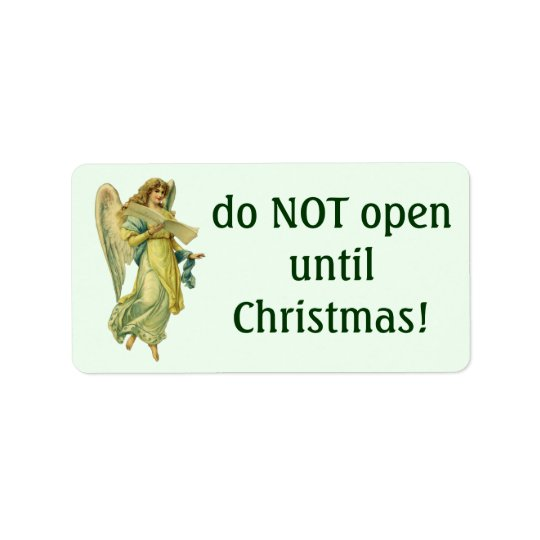 Victorian Christmas Angel, Gloria in Excelsis Deo Label