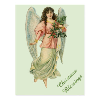 Victorian Christmas Angel Vintage Blessings Card