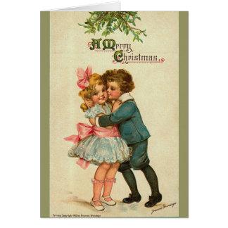 Victorian Christmas Card - Give me a Kiss!