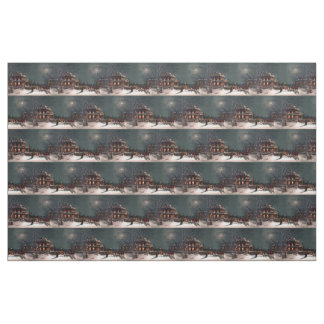 Victorian Christmas Eve Party Mansion Sleigh Snow Fabric