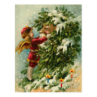 Victorian Christmas Faerie and Santa Postcard