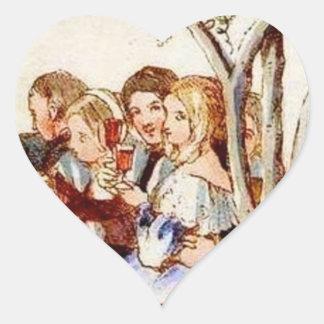 Victorian Christmas Heart Sticker