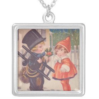 Victorian Christmas Kids Square Sterling Silver Ne Square Pendant Necklace