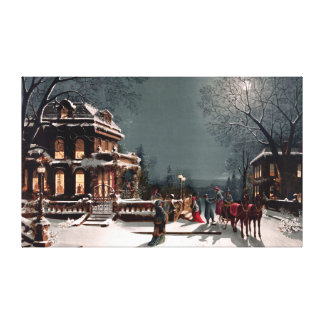 Victorian Christmas Party  Large Canvas Print