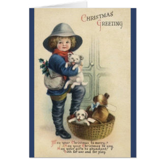 Victorian Christmas Puppies Greeting Card