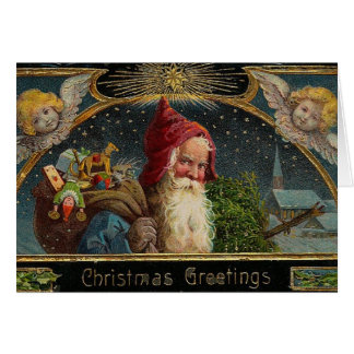 Victorian Christmas Santa Greeting Card