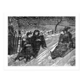 Victorian Christmas Sled Race Vintage Postcard