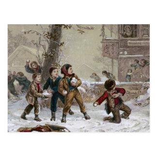Victorian Christmas Snowball Fight Postcard