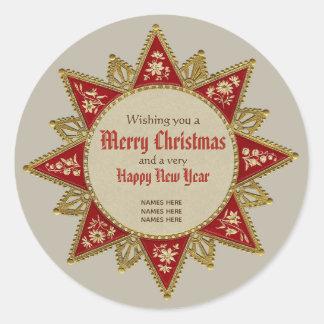 Victorian Christmas star Golden ornaments CC0958 Classic Round Sticker