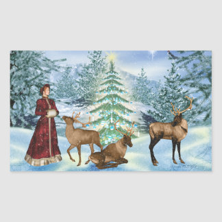 Victorian Christmas Winter Scene Stickers
