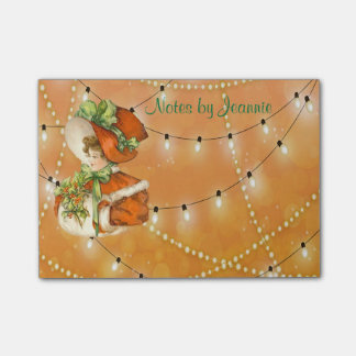 Victorian ChristmasLady Orange Background w/Lights Post-it Notes