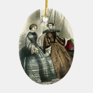Victorian Civil War Women Fancy Ladies Ceramic Ornament