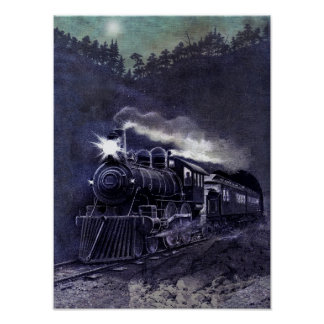 Victorian Colored Etching - Steam Engine Train Poster
