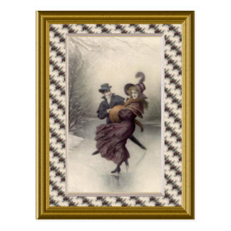 Victorian couple skating postcard