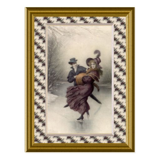 Victorian couple skating post cards