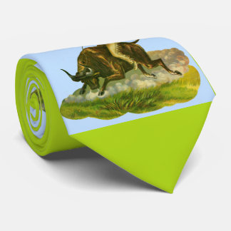 Victorian cowboy bull rider print tie