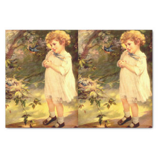 Victorian cutie with birds tissue paper