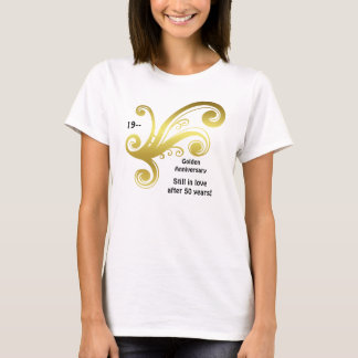 Victorian damask swirls golden wedding anniversary T-Shirt