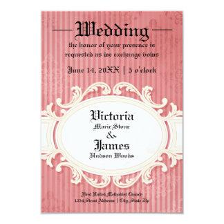 Victorian Damask W/Banner - 3x5 Wedding Invitation