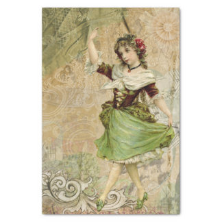 Victorian Dancing Girl Green Red Rose Tissue Paper