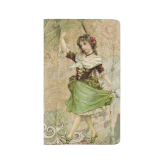Victorian Dancing Girl Green St. Patrick's Day Large Moleskine Notebook