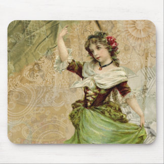 Victorian Dancing Girl Green St. Patrick's Day Mouse Pad