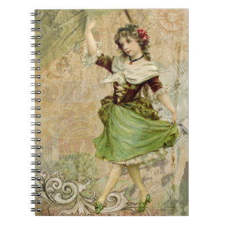 Victorian Dancing Girl Green St. Patrick's Day Notebook