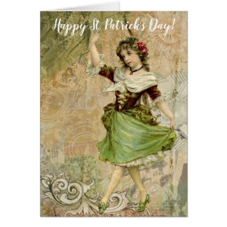 Victorian Dancing Girl in Green St. Patrick's Day Card