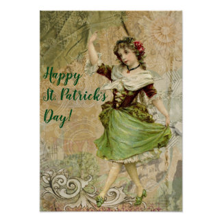 Victorian Dancing Girl in Green St. Patrick's Day Poster