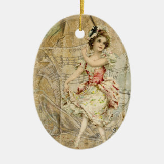 Victorian Dancing Girl Sheet Music Oval Ornament
