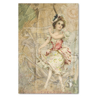 Victorian Dancing Girl Sheet Music Tissue Paper
