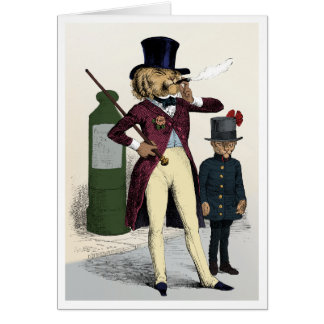Victorian dandy lion smoking a cigar card