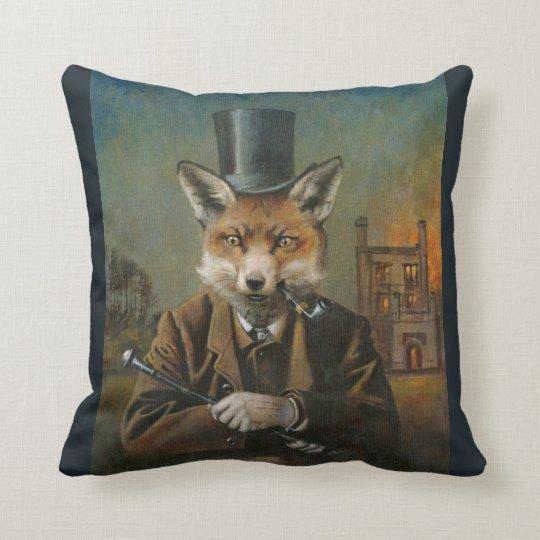 Victorian Dapper Fox Throw Cushion