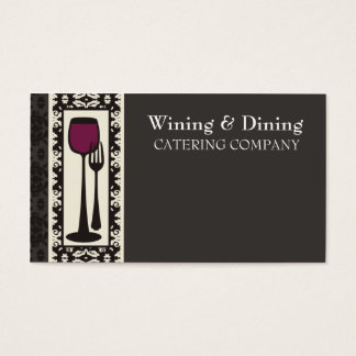 victorian decorative food wine catering biz card