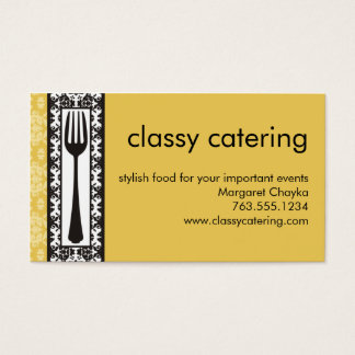 victorian decorative fork chef catering biz card