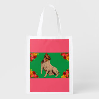 Victorian dog and flowers reusable grocery bag