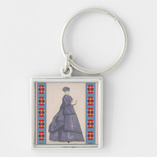 Victorian Dress Silver-Colored Square Keychain