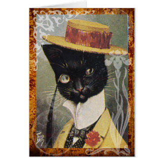 Victorian Dressed Black Cat Gentleman Hat Card
