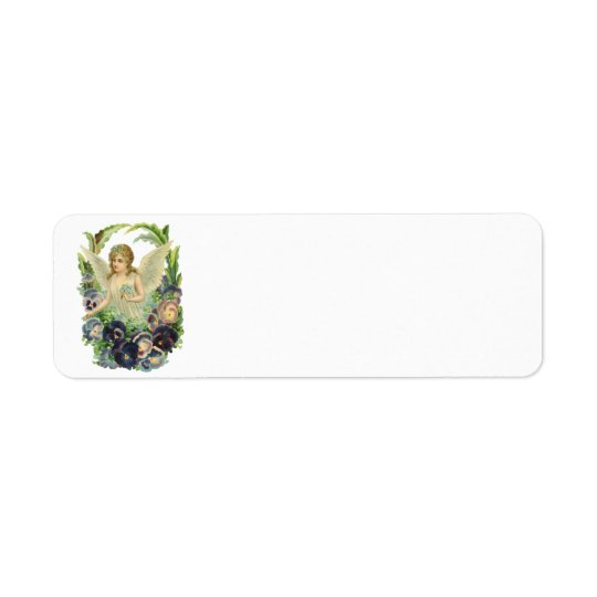 Victorian Easter Angel with Purple Pansy Flowers Return Address Label