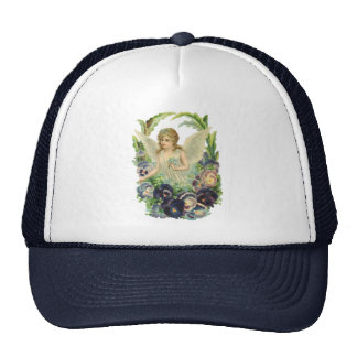 Victorian Easter Angel with Purple Pansy Flowers Trucker Hat