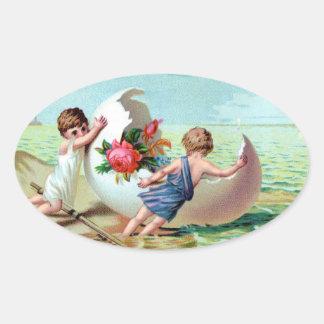 Victorian Easter Cherubs Oval Sticker