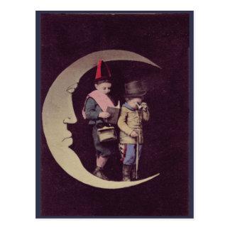 Victorian Era Children On A Crescent Moon Postcard