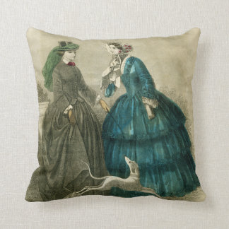 Victorian Era Fashion Throw Pillow