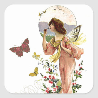 Victorian Fairy and Butterflies Square Sticker