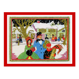 Victorian Family Christmas Postcard