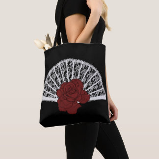Victorian Fan Rose Goth Tote Bag